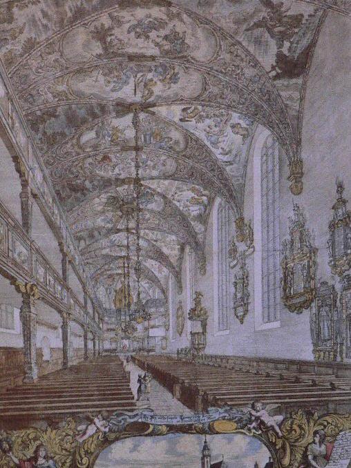 Katharinakirche Frankfurt, schilderij van Johann Ulrich Kraus ca. 1683.